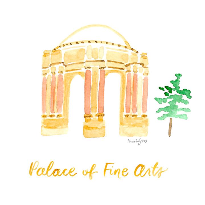 Amanda Gomes Watercolor Illustration Art •San Francisco Palace of Fine Arts Painting