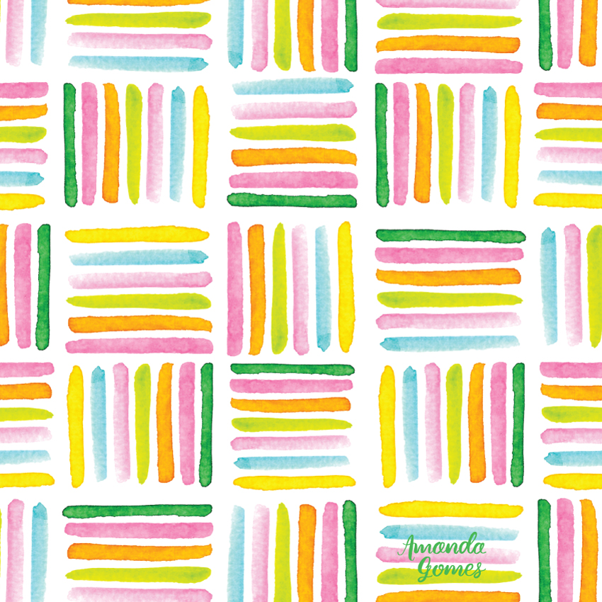 Bright Watercolor Stripe Blocks Pattern by Amanda Gomes • amandagomes.com