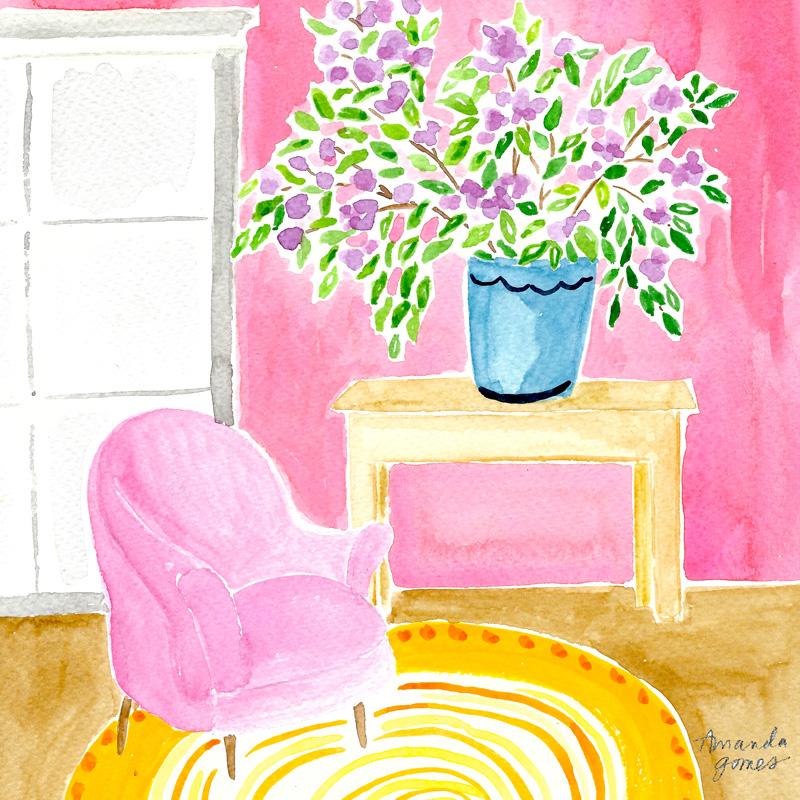 Amanda Gomes watercolor Illustration • Pink Interior Painting •amandagomes.com
