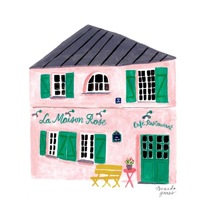 Amanda Gomes Gouache Illustration •Painting of La Maison Rose Paris • amandagomes.com