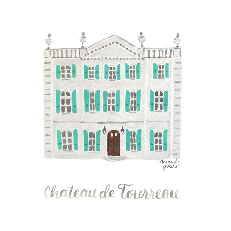 Amanda Gomes Watercolor Illustration • Chateau de Tourreau • amandagomes.com