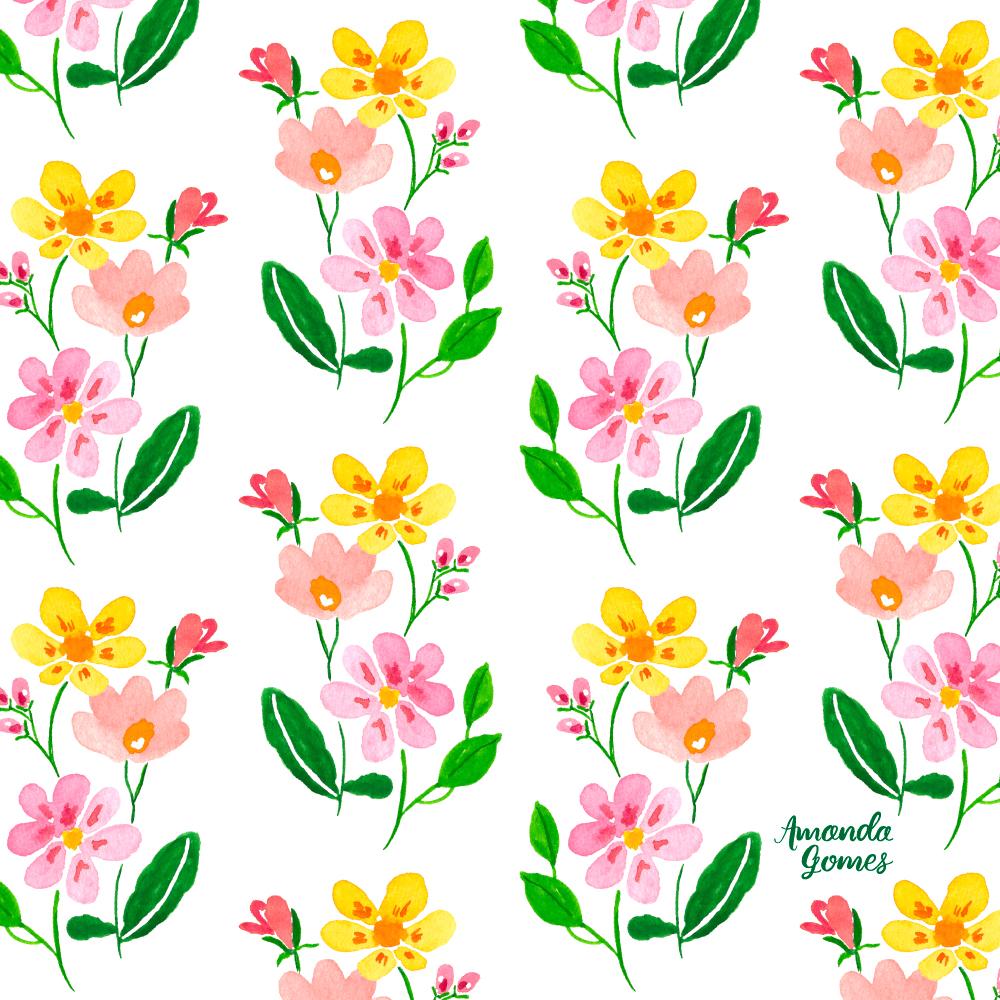 Amanda Gomes Watercolor Floral Pattern • amandagomes.com