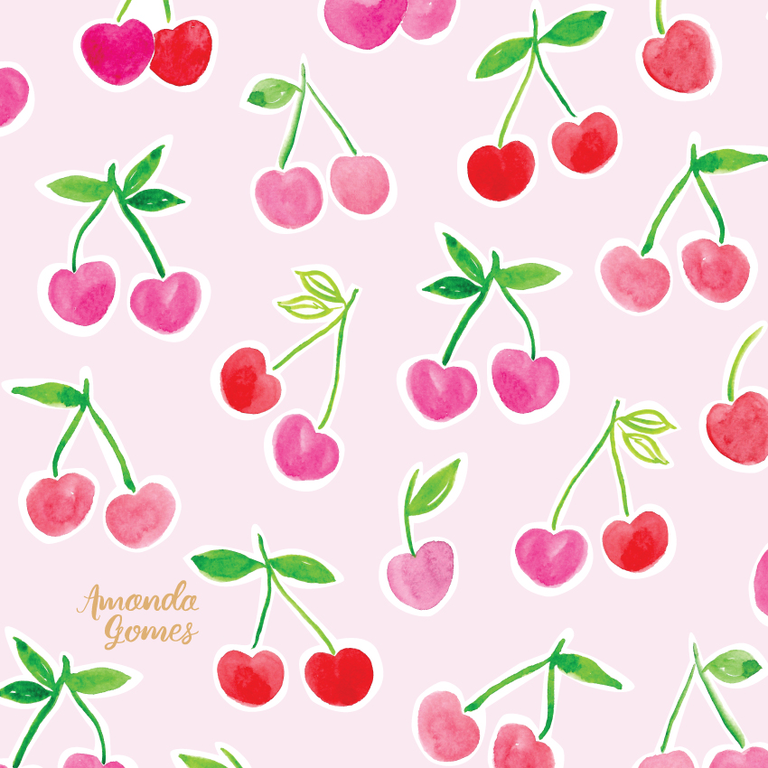 Amanda Gomes Watercolor Illustration • Cherry Pattern • amandagomes.com
