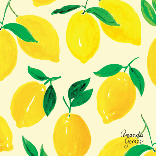 Lemon Pattern ©Amanda Gomes #surfacepatterndesign #watercolorartist #citruspattern