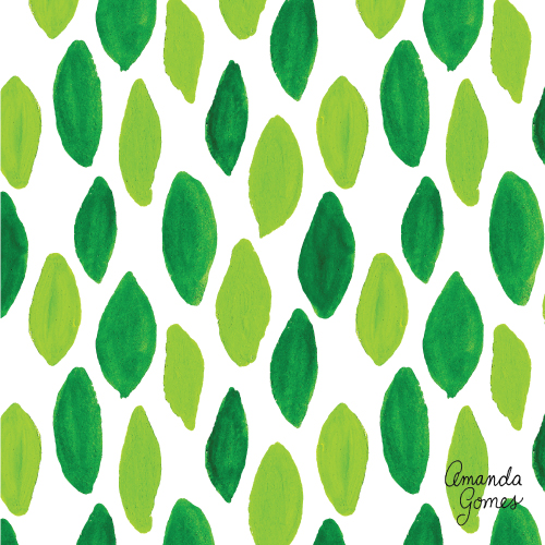 Amanda Gomes Surface Pattern Design #surfacepattern #greenleaves #surfacepatterndesign #surfaceart #gouache