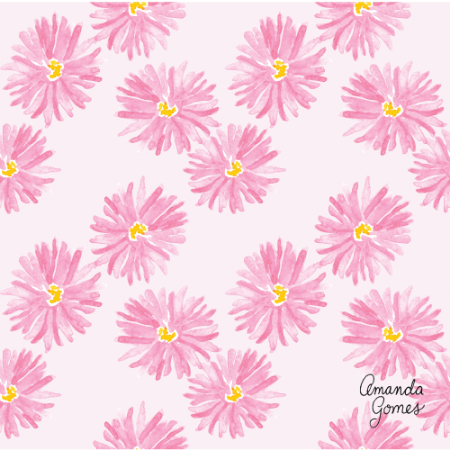Amanda Gomes Surface Pattern Design #pinkflorals #flowerillustration #illustration #surfacepatterndesign #surfaceart #watercolorart