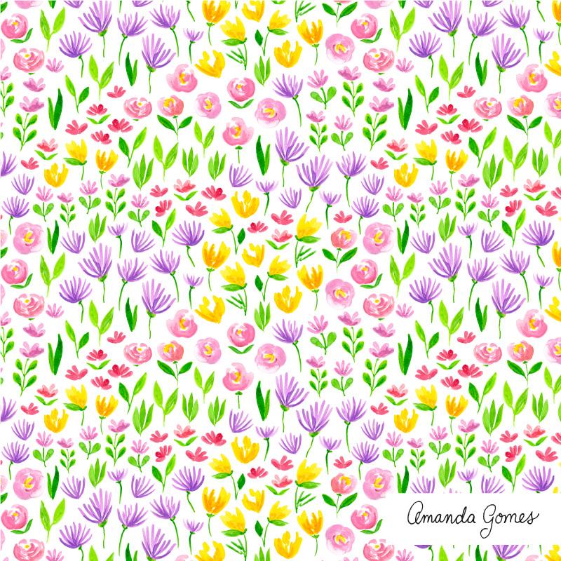 Amanda Gomes Surface Pattern Design #floralpattern #flowerillustration #surfacepatterndesign #surfaceart #watercolor