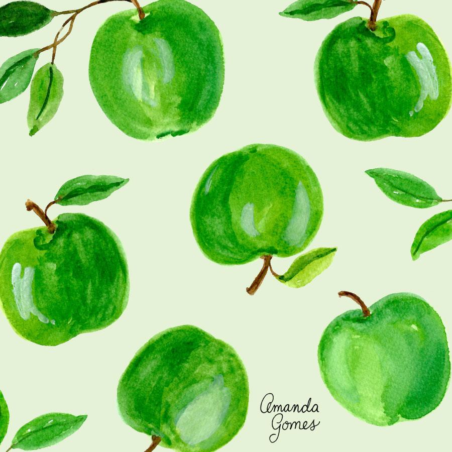 Amanda Gomes Surface Pattern Design #applepattern #appleillustration #watercolorapples #surfacepattern #surfacedsign