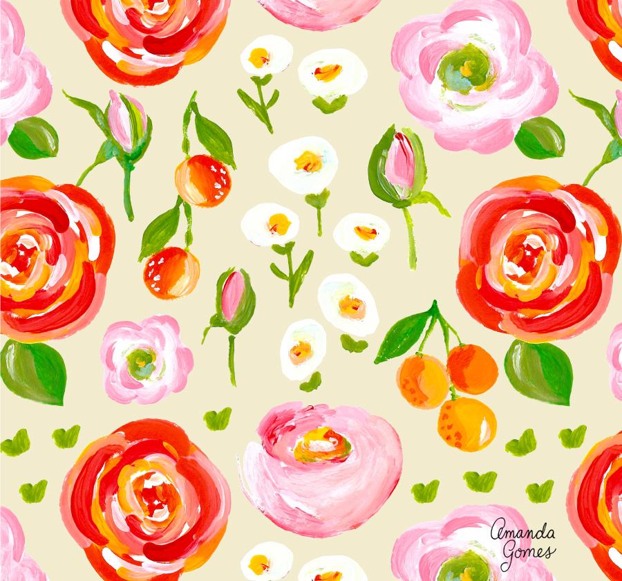 Amanda Gomes Surface Pattern Design #floralpattern #flowerillustration #surfacepatterndesign #surfaceart #acrylicillustration