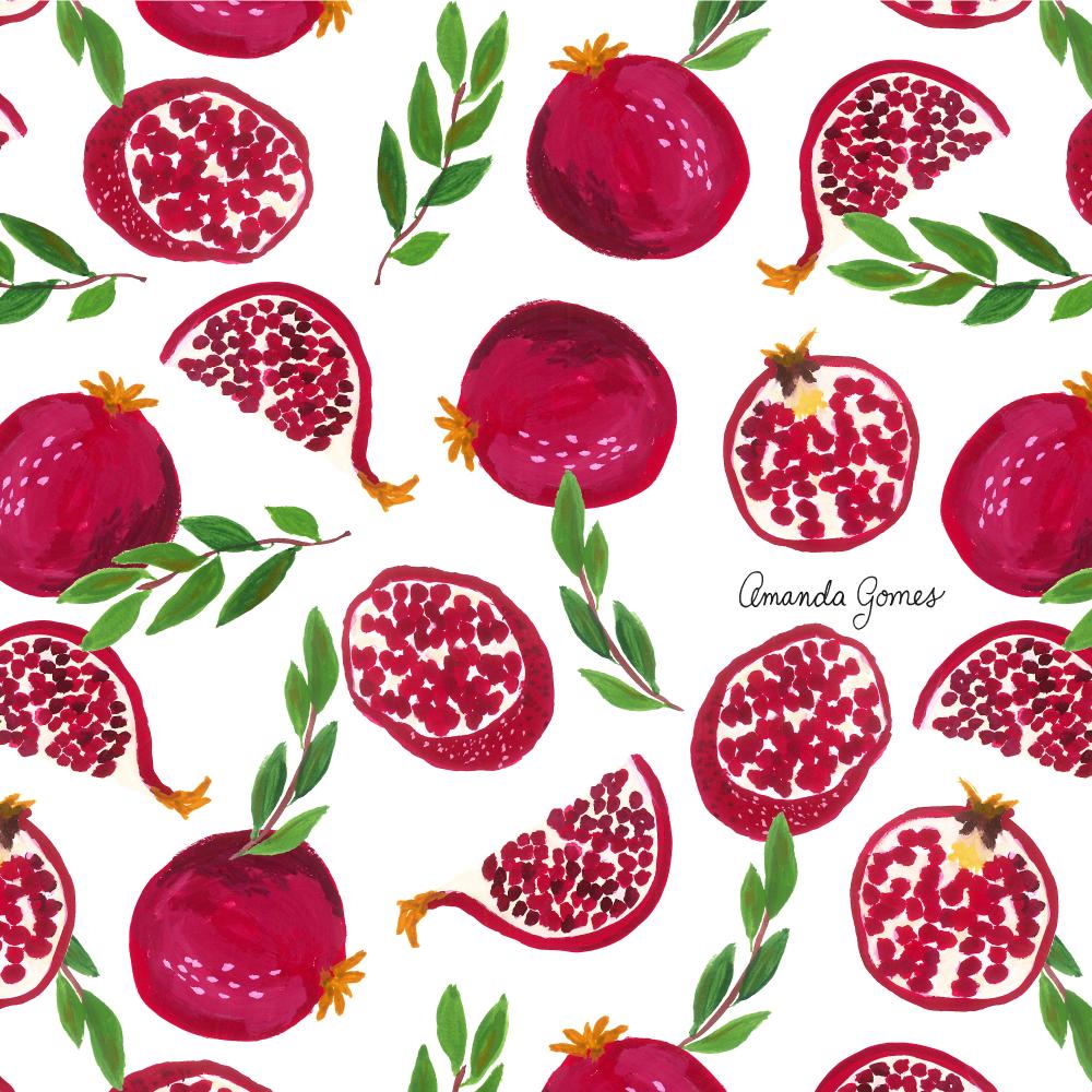 Amanda Gomes Surface Pattern Design #pomegranate #illustration #fruitpattern