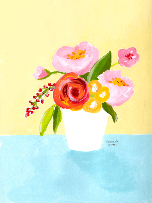 Amanda Gomes Art • flowers in vase • acrylic and gouache