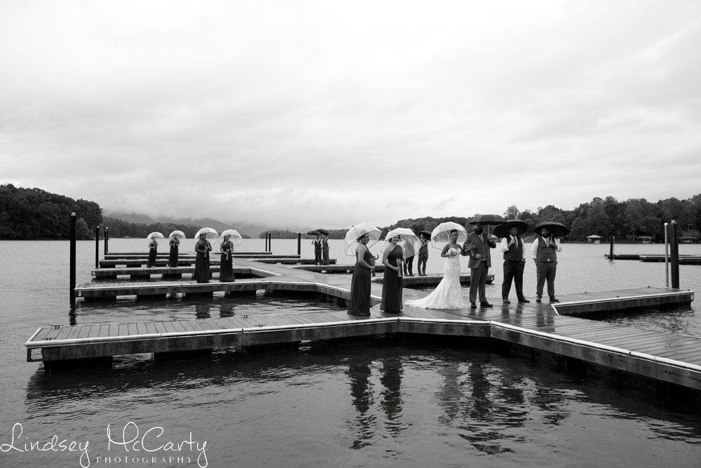 This couple wasn't going to let rain stand in their way after planning their destination wedding at Mariner's Landing at Smith Mountain Lake. This is another great example of the lighting and clouds that come to life on a rainy day as the remnants of Hurricane Matthew in September 2016 passed over Virginia..