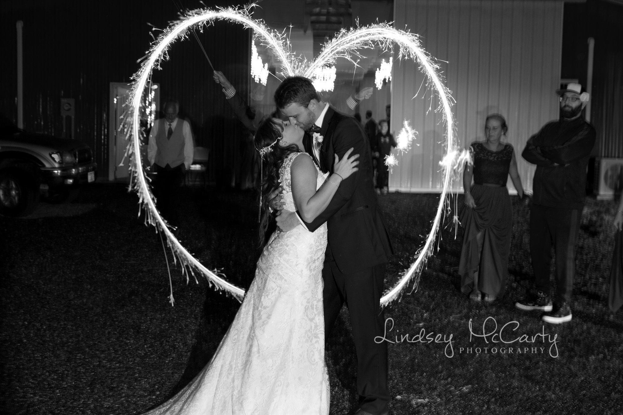 Lindsey McCarty Photography | Roanoke, VA Area Wedding Photography | Bahhur's Events at Whistle Hollow Farm | Fairfield, VA Wedding | Sparkler Exit