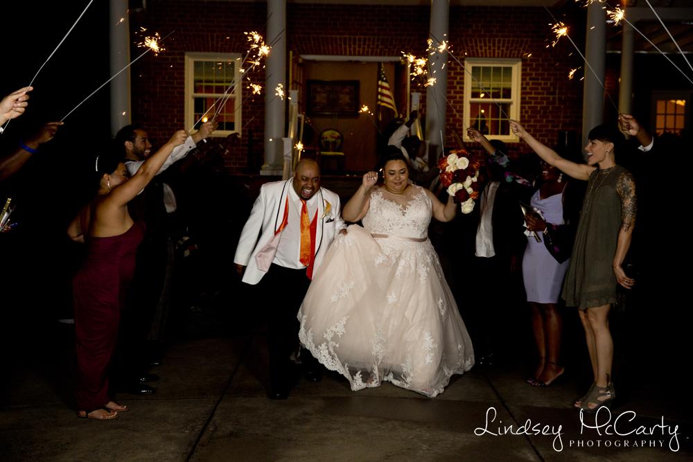 Lindsey McCarty Photography | Roanoke, VA Area Wedding Photography | Vinton War Memorial Wedding | Vinton, VA Wedding | Sparkler Exit