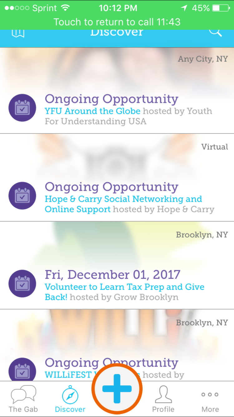 Give Gab: Busy grid view. Give Gab is very social sharing focused.