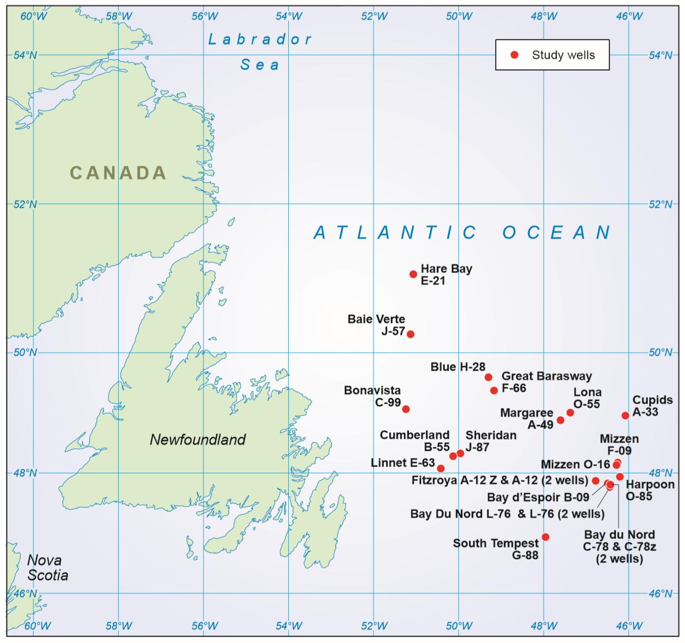 Twenty two study wells in Newfoundland, East Canada.