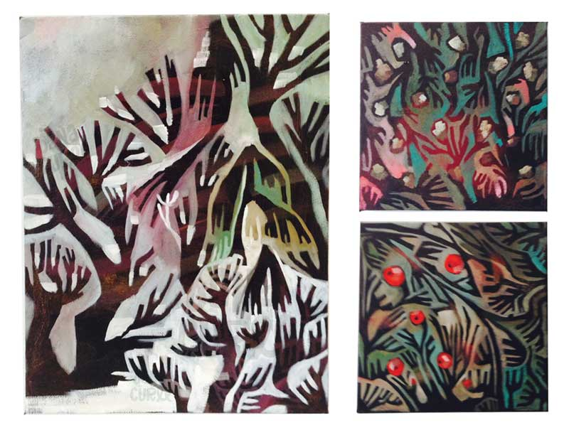 My little winter paintings. (not quiiiite finished...)