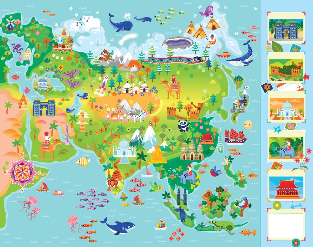 Asia Activity Map — Jana Curll Illustration