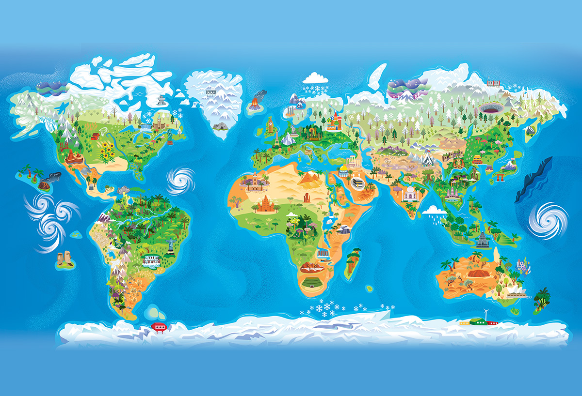 World Map for OSMO — Jana Curll Illustration