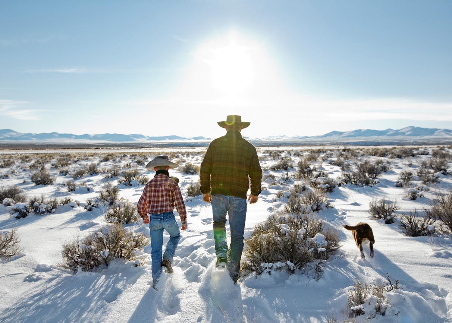 Photographer: Andy Anderson.Jack Brown and his son Garrett walking on their ranch.