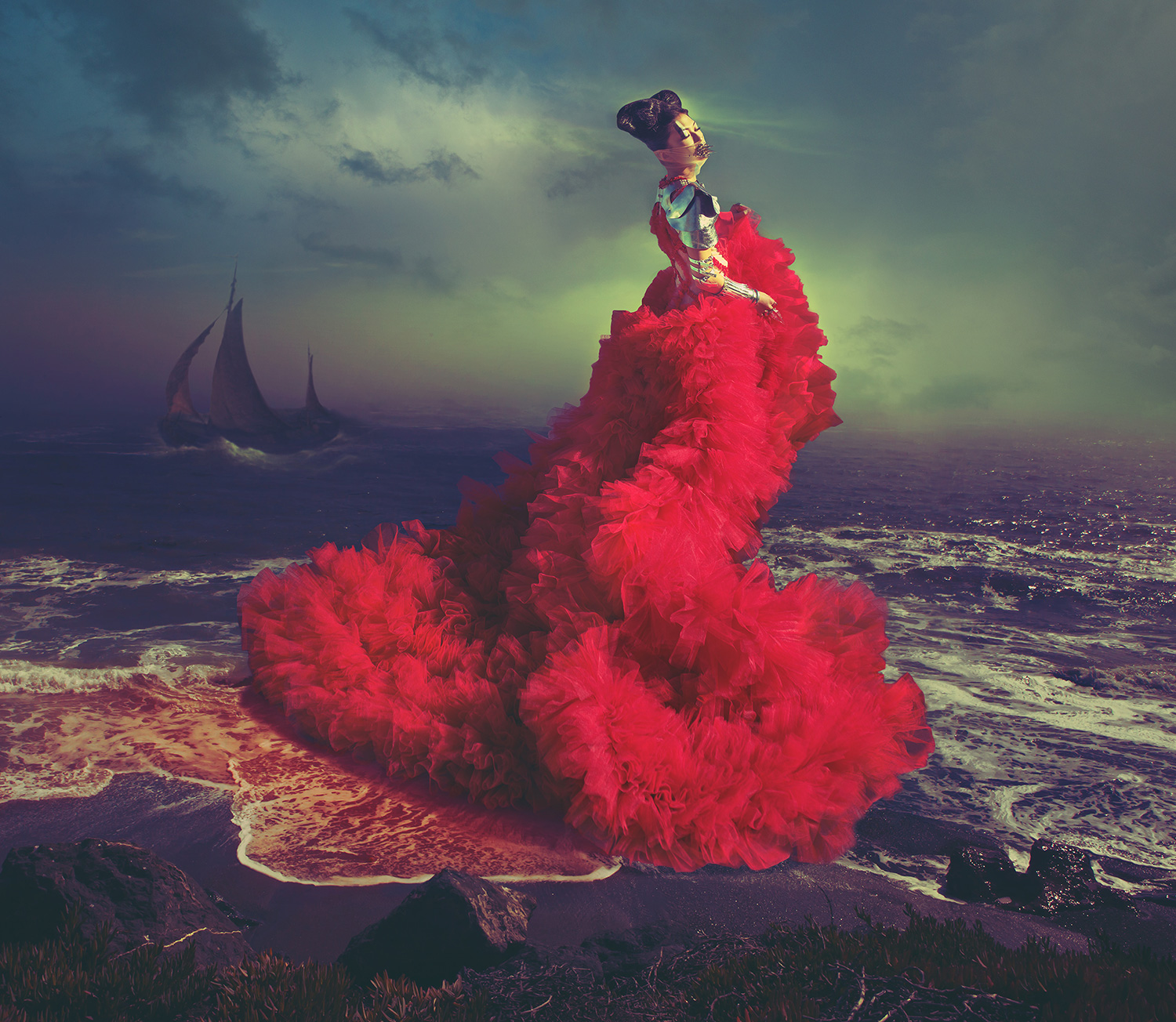 SCARLET SONG (2013)  Features boat from 'Ships in a Fresh Breeze' by Hermanus Koekkoek (1778-1851).  Model: Connie Roudier, Wunder Management / Styling & dress by Leonid Gurevich / Hair: Jeffrey Fetzer / Makeup: Heiddis Ros Reynisdottir / Shoulder piece: Nikita Karizma / Muzzle: Satori Breonn / Bracelets: Clara Kasavina / Metal bracelet: Gasoline Glamour / Rings: Shiang, Clara Kasavina & Gasoline Glamour