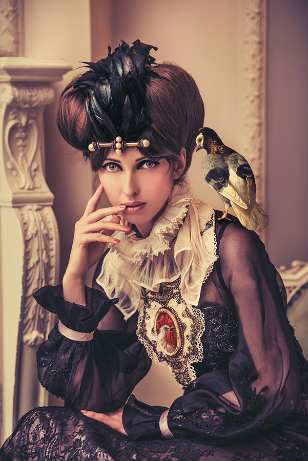 PORTRAIT WITH PIGEON & POULTRY (2013) Bird on shoulder from 'A cockerel, hens and pigeon by a wall' and the chicken on the collar from 'The poultry yard', Melchior d'Hondecoeter, circa 1636-1695. Model: Natalia Doktor / Stylist: Minna Attala / Dress: Busardi / Collar: Della Reed / Silk neck ruff / National Theatre / Headpiece: Clea Broad / Hair: Tati Zarubova / Make-up: Monica Storrs