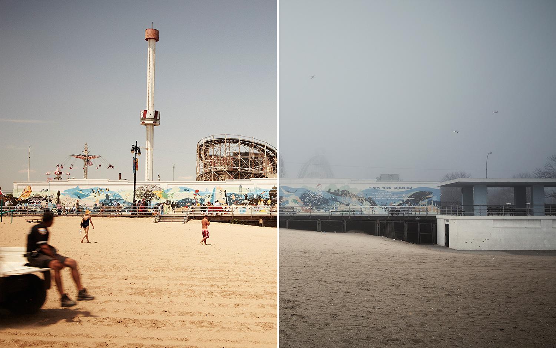 Aaron Cobb; Coney Island: Winter vs Summer  aaroncobb.com