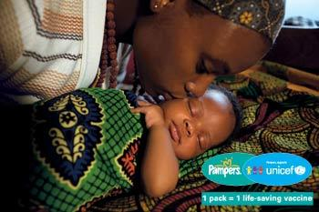 Partnering with  UNICEF , Pamper's launched a  global campaign  to protect the lives of mothers and babies in less industrialized countries. To date, it's 1 pack = 1 vaccine program has successfully enrolled the universal instinct of all mothers to help donate  300 million vaccines  - protecting 100 million women and their babies around the world.