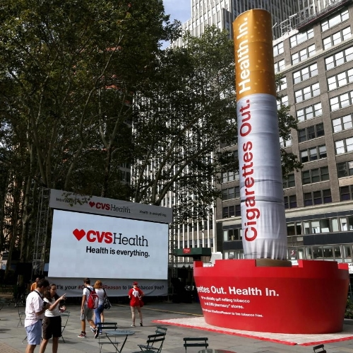 CVS: US drugstore chain stops selling tobacco products   As of September 2014, US drugstore chain  CVS pulled cigarettes and tobacco-related products from all its stores. Predicting that the decision will cost around $2 billion in annual revenue, the chain states that stocking tobacco products is in conflict with its role as a health care company. The company also launched the quit smoking campaign  #OneGoodReason  on social media, and rebranded its corporate entity as CVS Health.