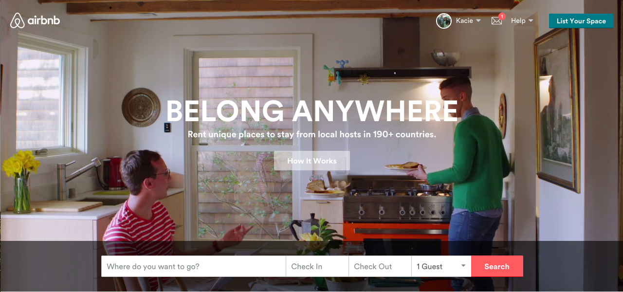 Airbnb  enables people to rent out their homes as lodging. It has over 1,000,000 listings in 34,000 cities and 190 countries.    Image Courtesy:  airbnb.com