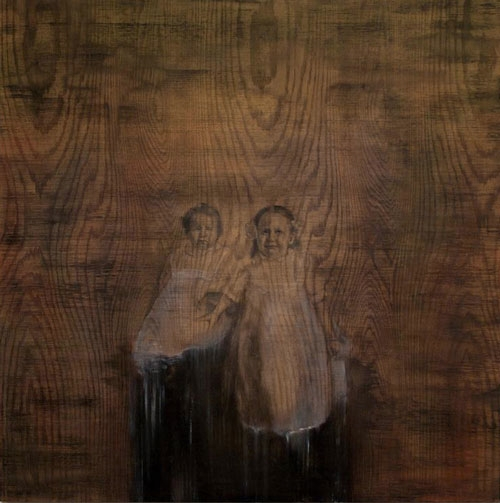 Gladys and Ola  2012. Graphite and Oil on oak panel. 48 x 48 in. Sold