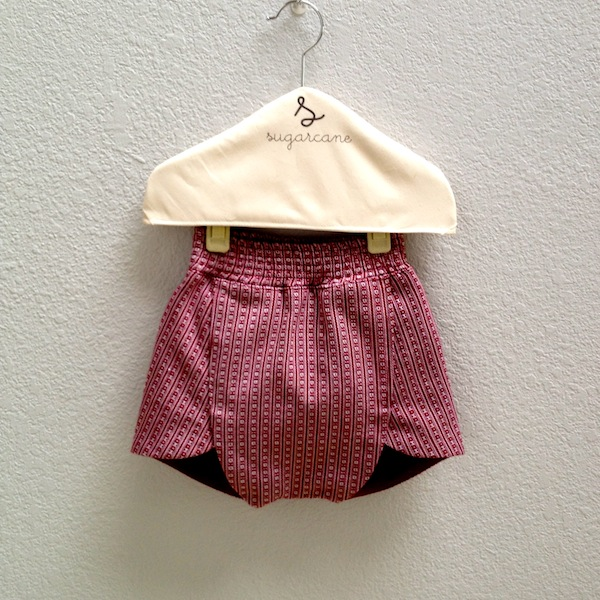 foldover shorts in red