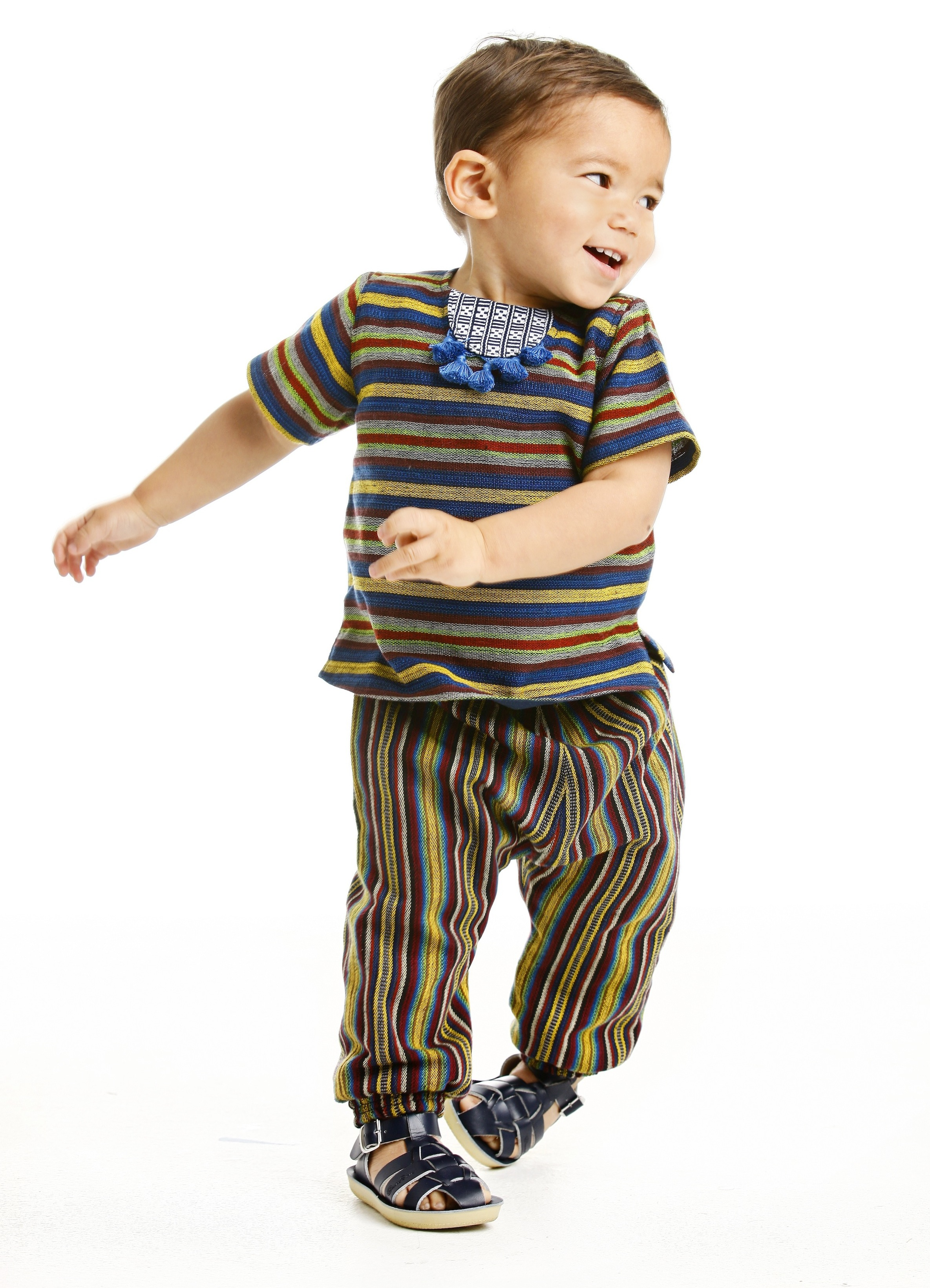 Hudson in the fringe tunic and slouch pants