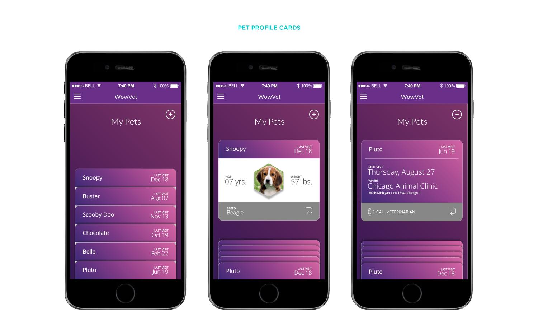 Pet Profile Cards Screens