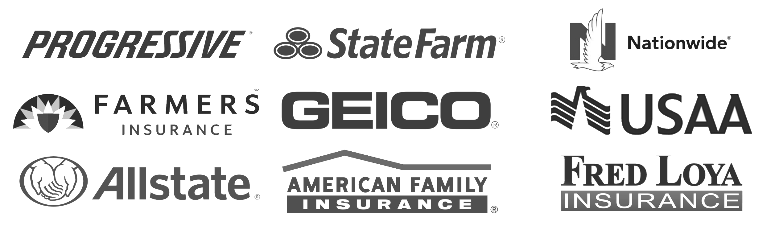 Progressive, State Farm, Nationwide, farmers, Geico, Usaa, American Family Insurance, Allstate, Fred Loya