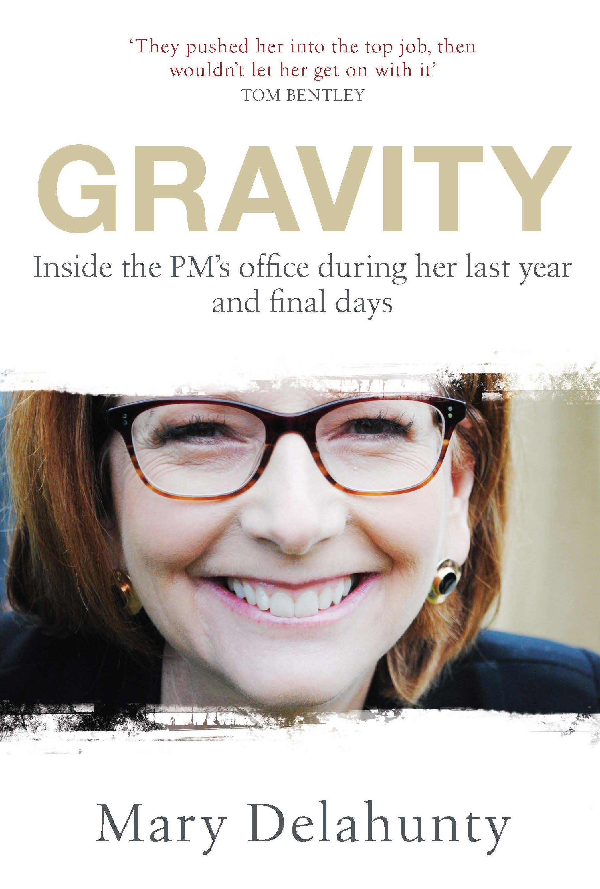 'Gravity' by Mary Delahunty.  Former Prime Minister Julia Gillard wearing the now famous spectacles styled by Sue Feldy