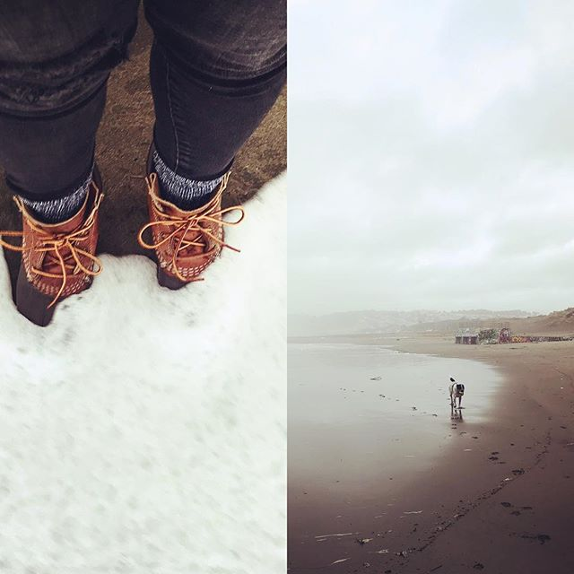 Wednesday morning beach fun with my gal . . . . #llbeanboots #beanboots #sanfrancisco #dogstagram #beach#ocean#landscape