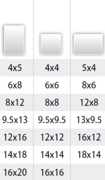 Album size in portrait, square and landscape format. Chart in inches