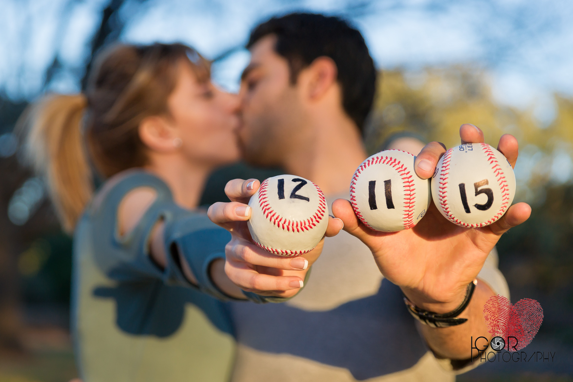 Baseball engagement photo