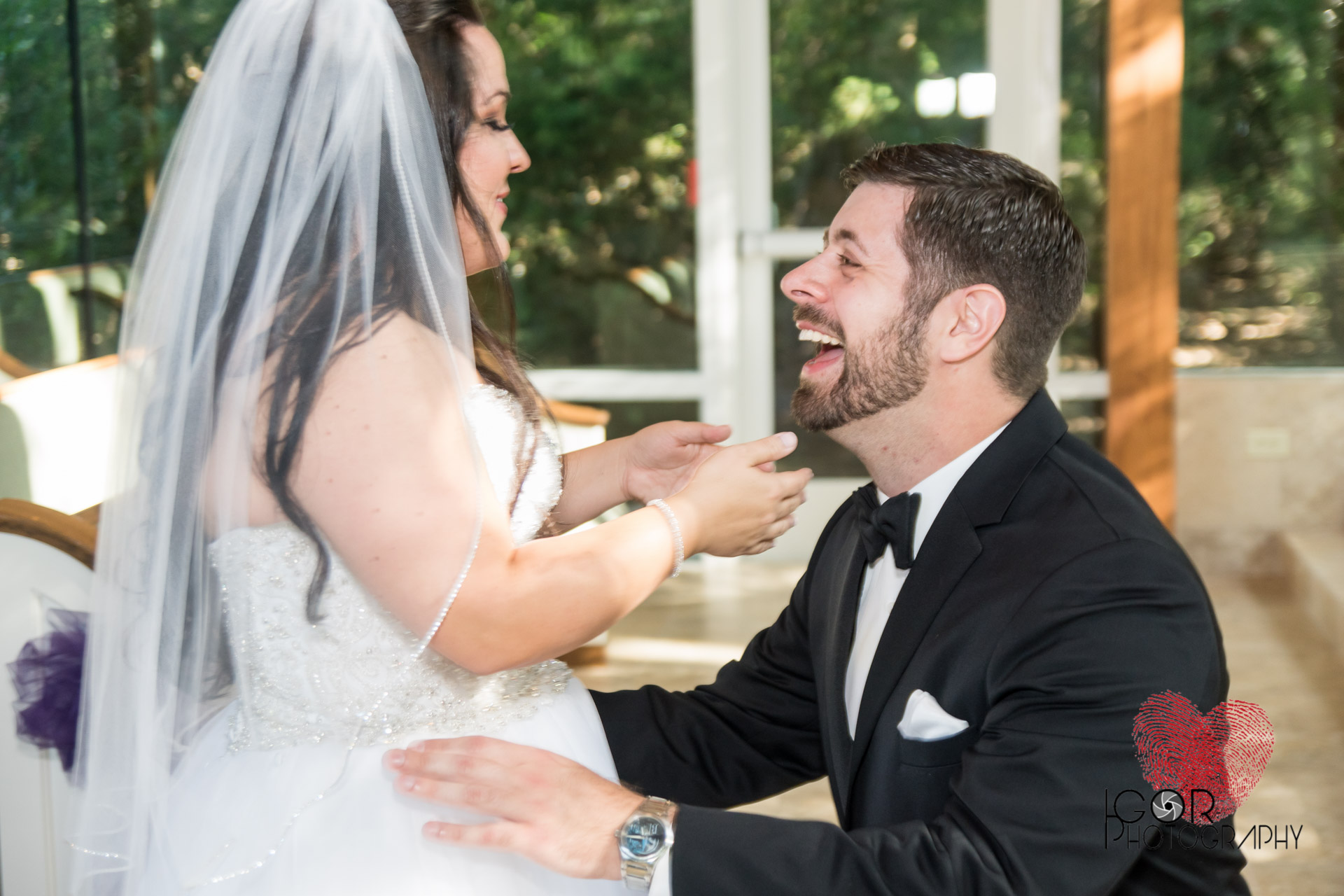 Wedding couple in laughter
