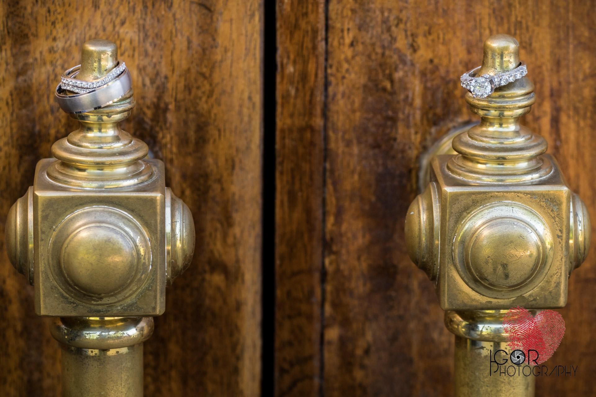Wedding rings at the chapel door