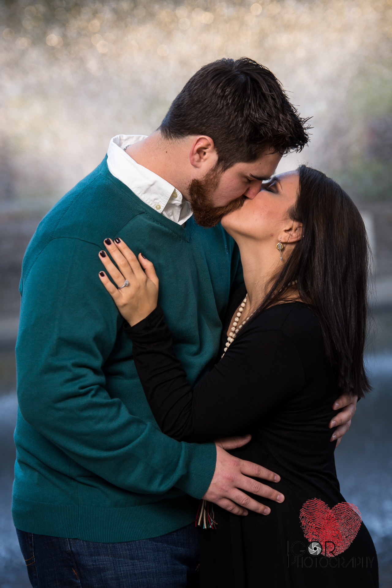 Engagement kiss photo