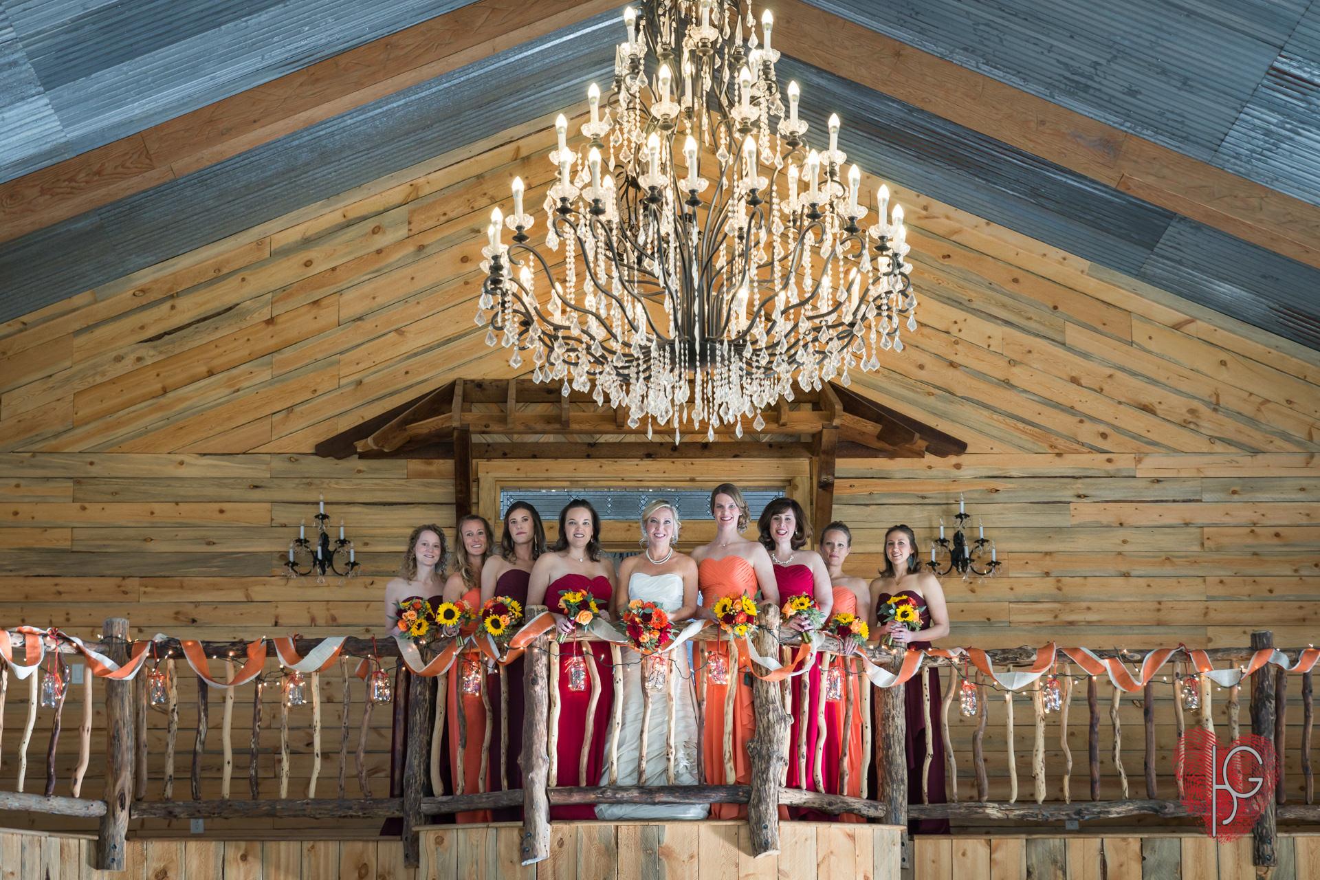 Bride and braidsmaids group shot