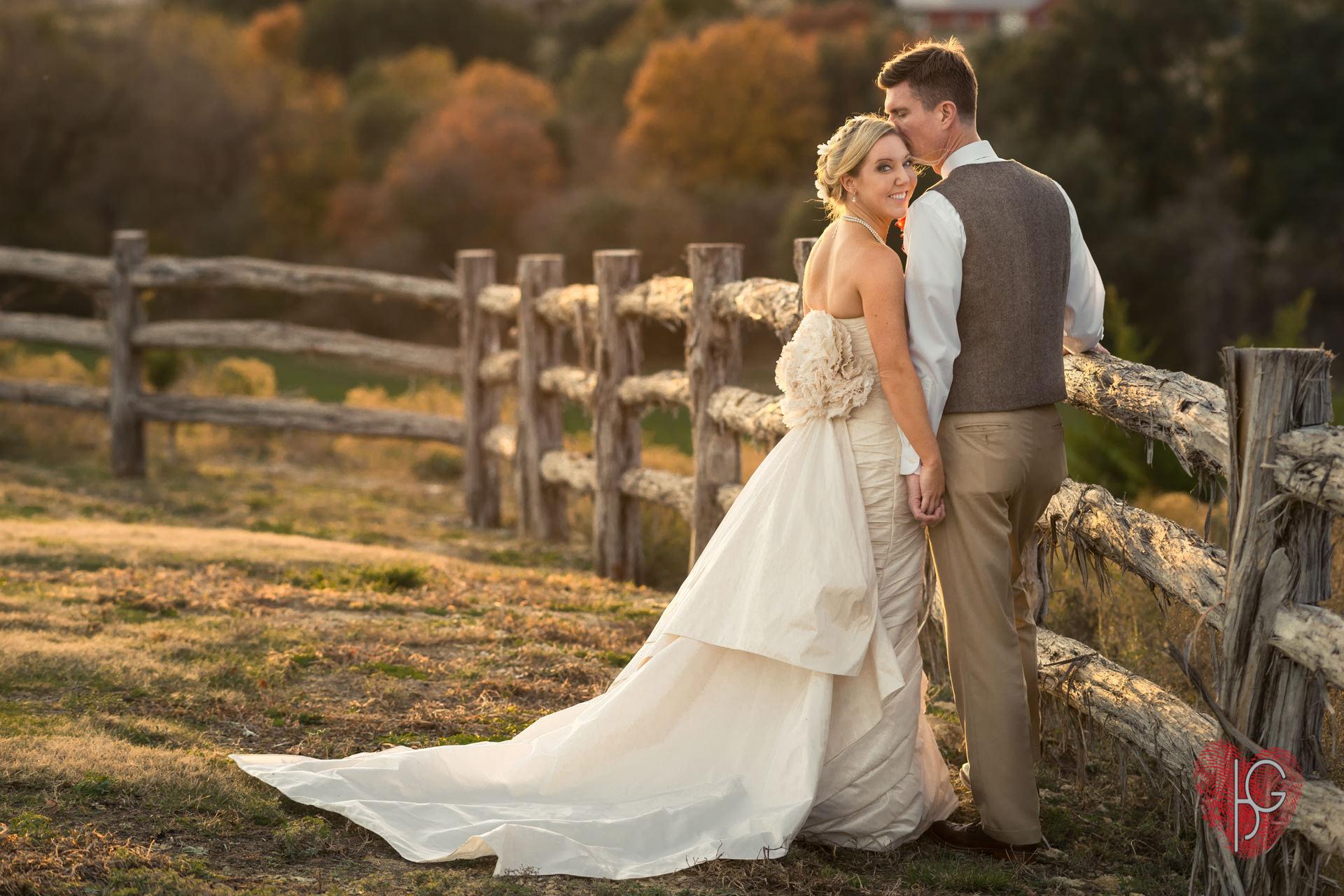 Romantic wedding photos of couple
