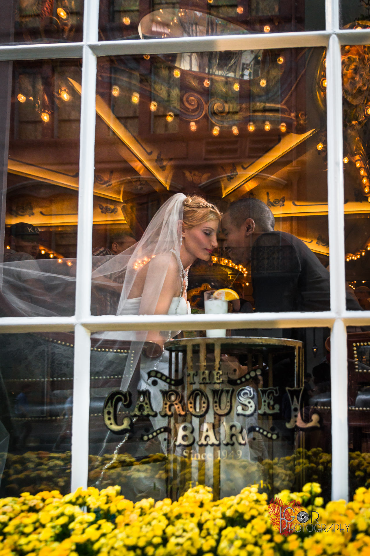 Wedding couple at the Iconic Carousel Bar in NOLA