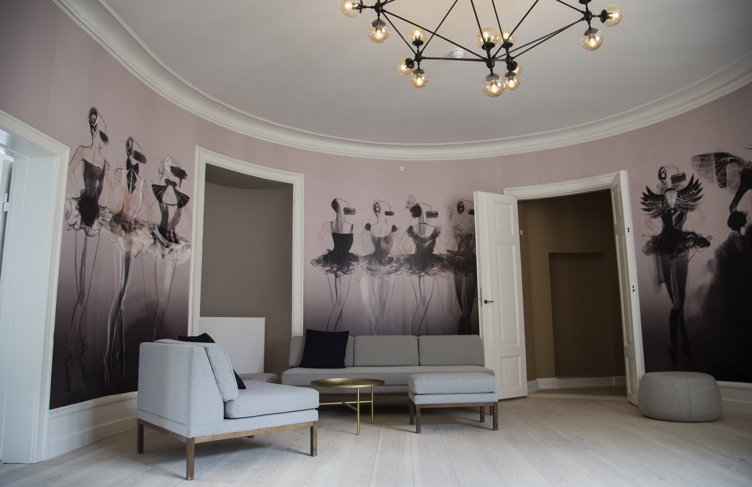 Wallpaper made by illustrator Mette Boesgaard and MAKWäRK, with references to the Royal Theater next door