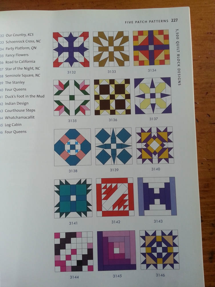 "We consulted quilting design book, "" 5500 Quilt Block Designs "", for inspiration and reference."