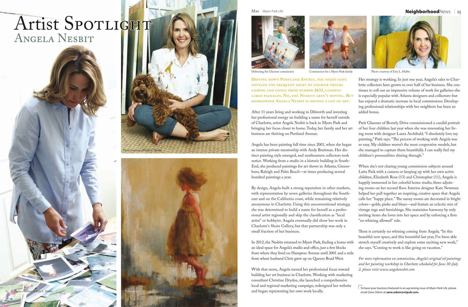 May 2015: Myers Park Life Magazine: featuring Angela Nesbit