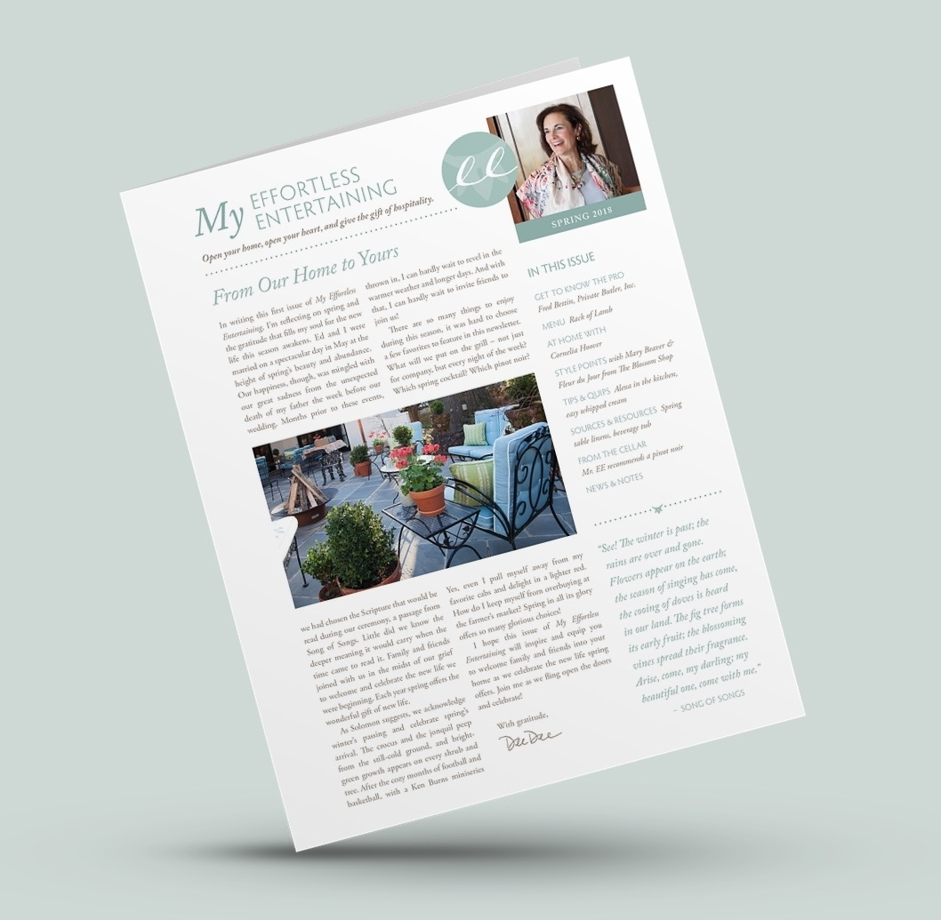 """My Effortless Entertaining"" printed newsletter"