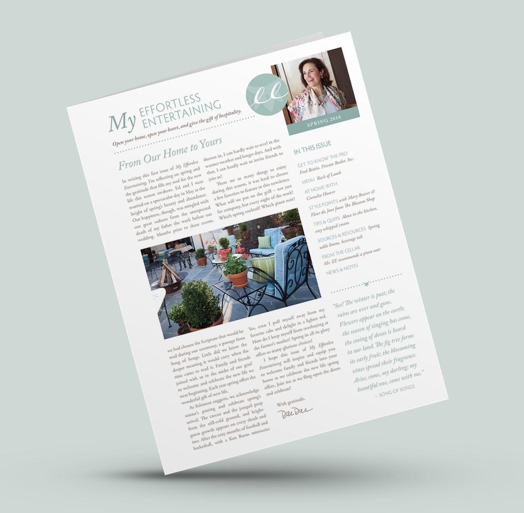 """My Effortless Entertaining"" printed newsletter"